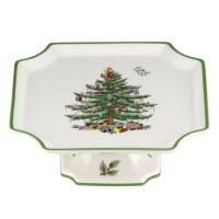 Christmas Tree Footed Square Cake Plate by Spode