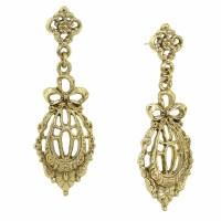 Gold Bow Drop Filigree Earrings Downton Abbey Collection ...