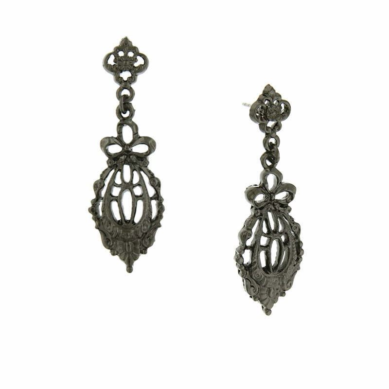 Jet Bow Drop Filigree Earrings Downton Abbey Collection by