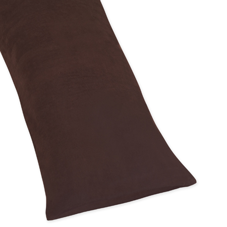 Brown Full Length Microsuede Double Zippered Body Pillow