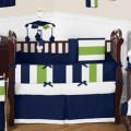 Navy blue and lime green stripe baby bedding 9pc crib set by sweet