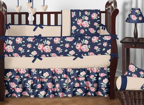 Navy Blue, Coral, Peach And Pink Floral Charlotte Baby