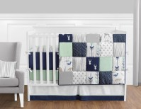 Navy Blue, Mint and Grey Woodsy Deer Baby Bedding