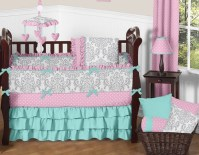 Pink, Gray and Turquoise Skylar Baby Bedding