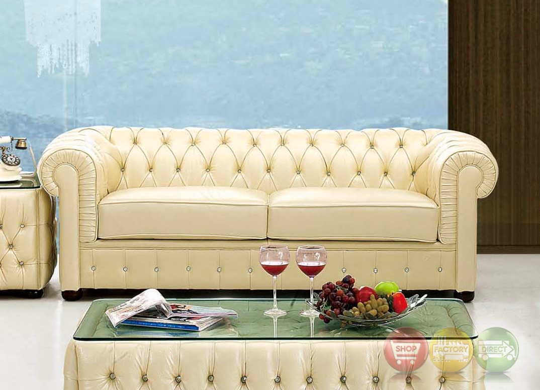 leather chesterfield sofa beige red recliner sectional sofas 258 rhinestone tufted in