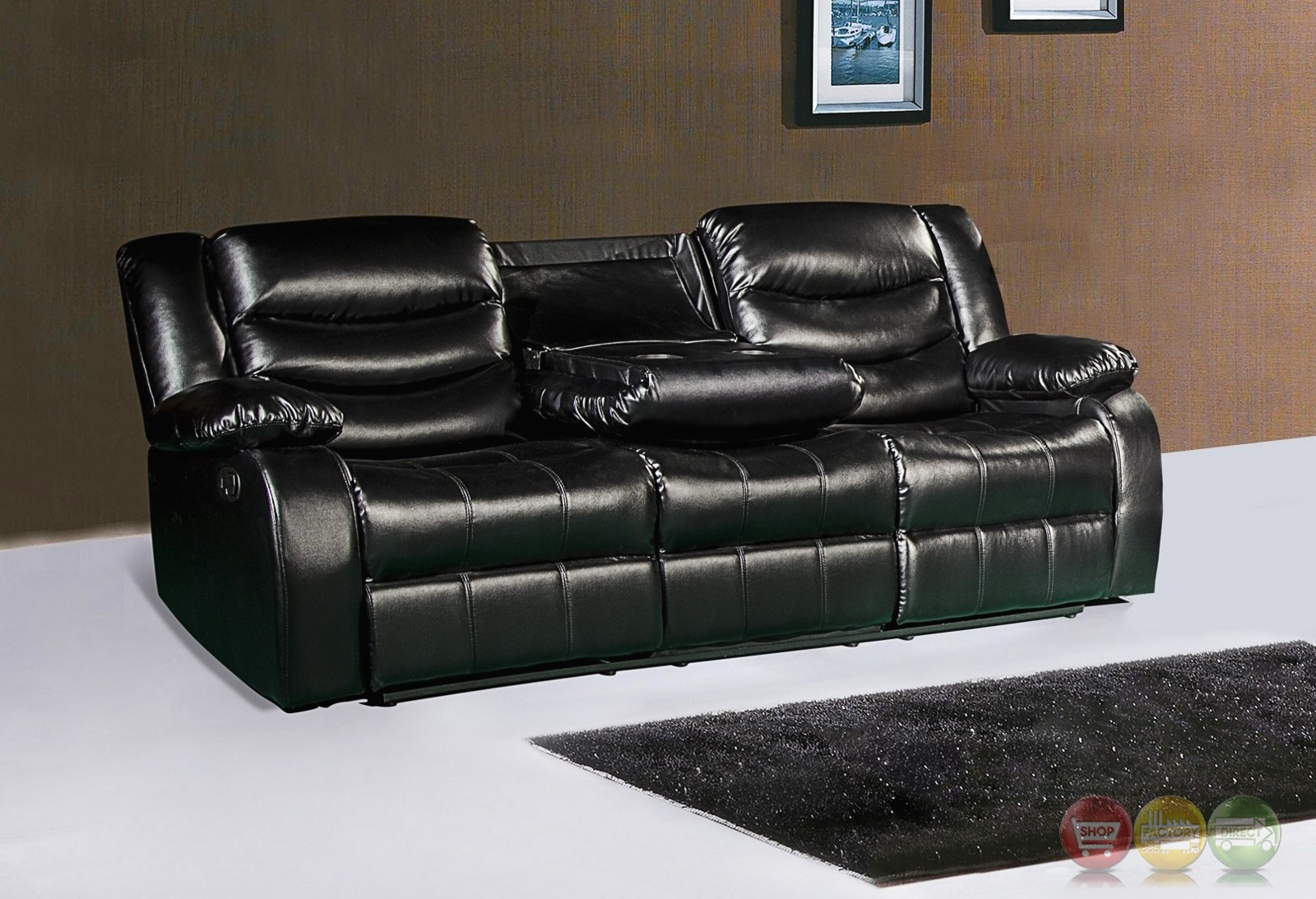black reclining sofa with console rattan garden furniture set 644bl leather drop down