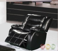 644BL Black Leather Rocker Reclining Chair With Pillow Arms