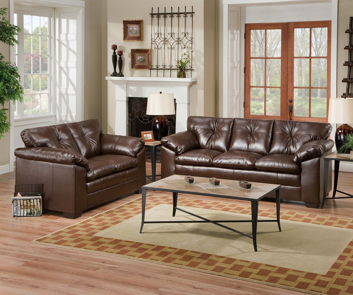 espresso bonded leather reclining sofa loveseat set window fireplace 6559 sebring coffee and love seat simmons