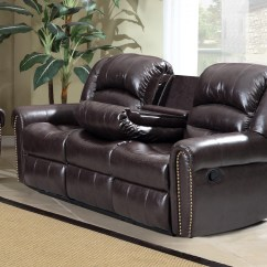 Nailhead Recliner Sofa Bed Full Sleeper 684 Brown Leather Reclining With Console And