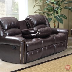 Nailhead Recliner Sofa Tufted Leather Ontario 684 Brown Reclining With Console And