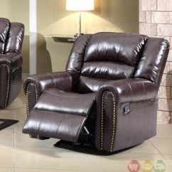 Brown Leather Rocking Chair Arm Set 684 Rocker Reclining With Nailhead Trim
