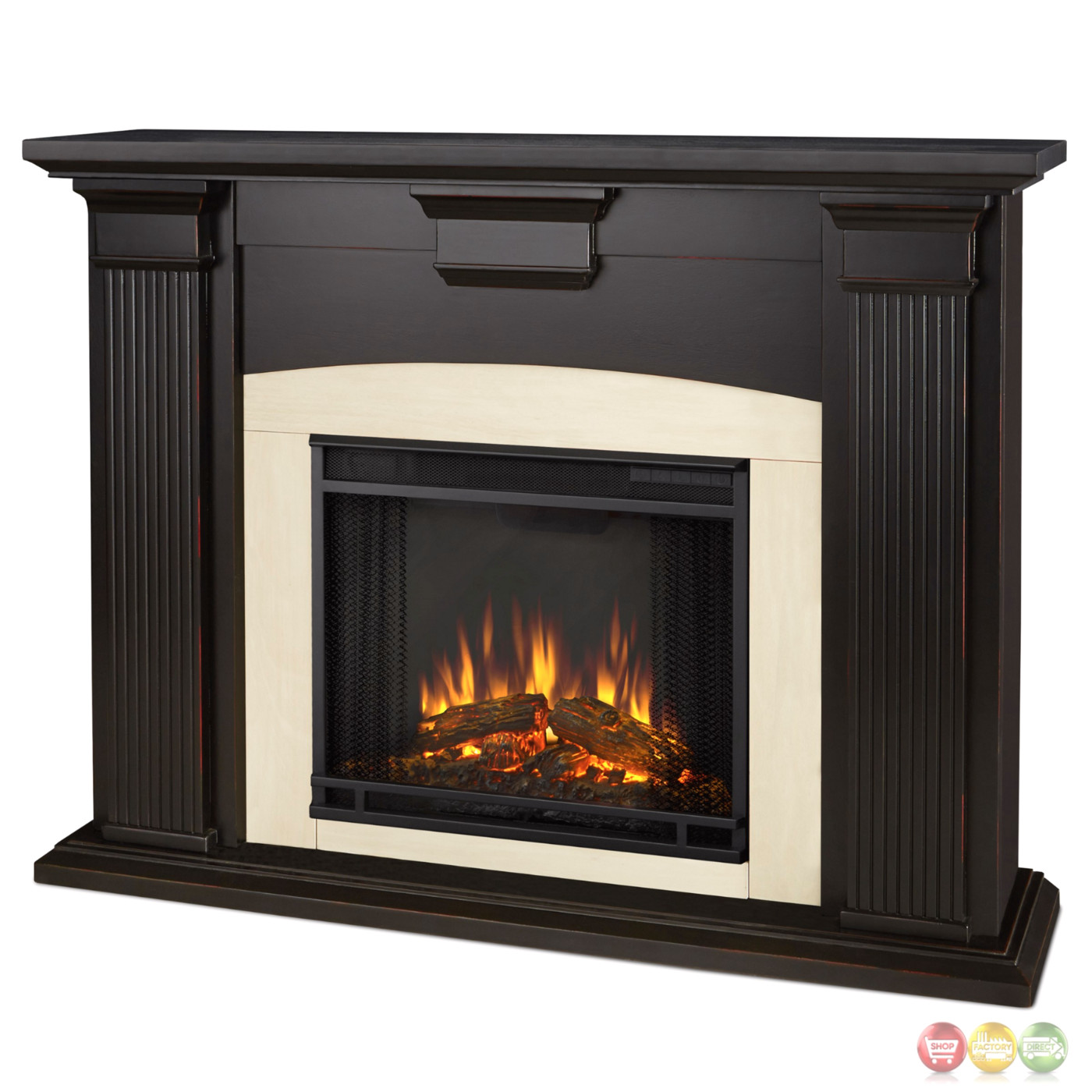Adelaide Electric Led Heater Fireplace In Antique Black 4700btu 51x39