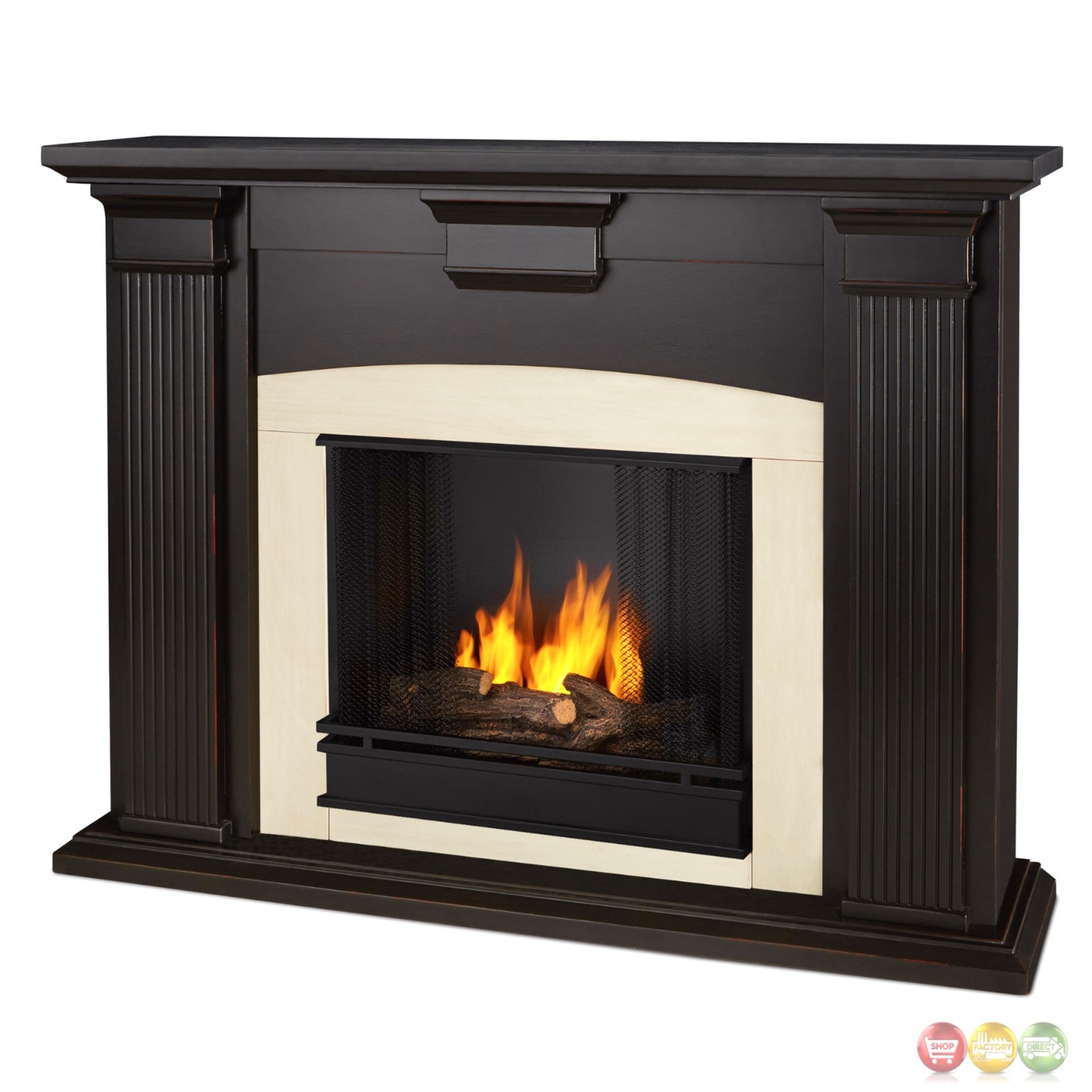 Adelaide Ventless Gel Fireplace In Antique Blackwash With Logs 51x39