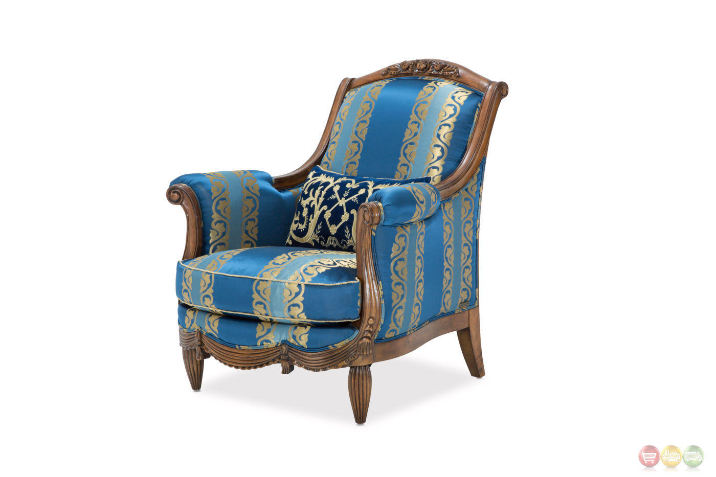 Blue Tufted Chair Adriana Royal Rococo Blue And Beige Button Tufted Chair In
