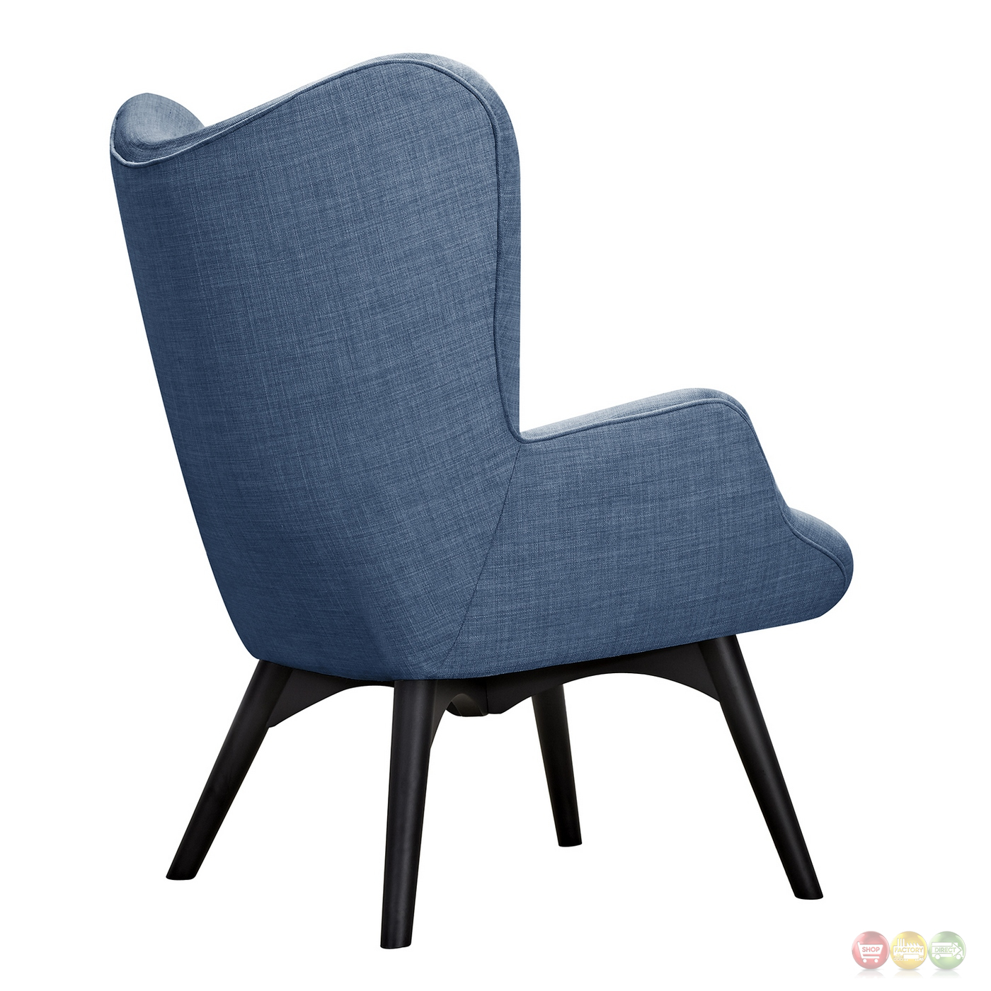 modern blue chair round teak table and chairs fabric ottoman shop