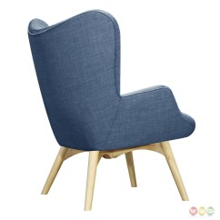 Modern Blue Chair Slipcovers T Cushion 2 Piece Aiden Mid Century Fabric And Ottoman In