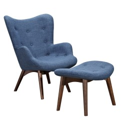 Modern Blue Chair Beach Chairs Amazon Aiden Mid Century Fabric And Ottoman In