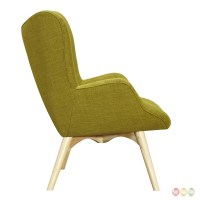 Aiden Mid-Century Modern Green Fabric Chair & Ottoman In ...