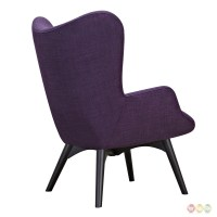 Aiden Mid-Century Modern Purple Fabric Chair & Ottoman In ...