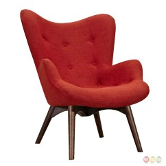 Modern Red Chair Polycarbonate Mat Aiden Mid Century Fabric And Ottoman In