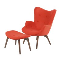 Aiden Mid-Century Modern Red Fabric Chair & Ottoman In ...