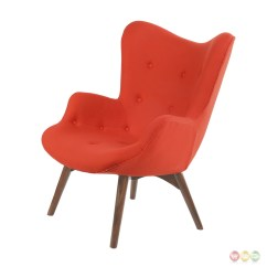 Modern Red Chair Wood Adirondack Chairs Lowes Aiden Mid Century Fabric And Ottoman In