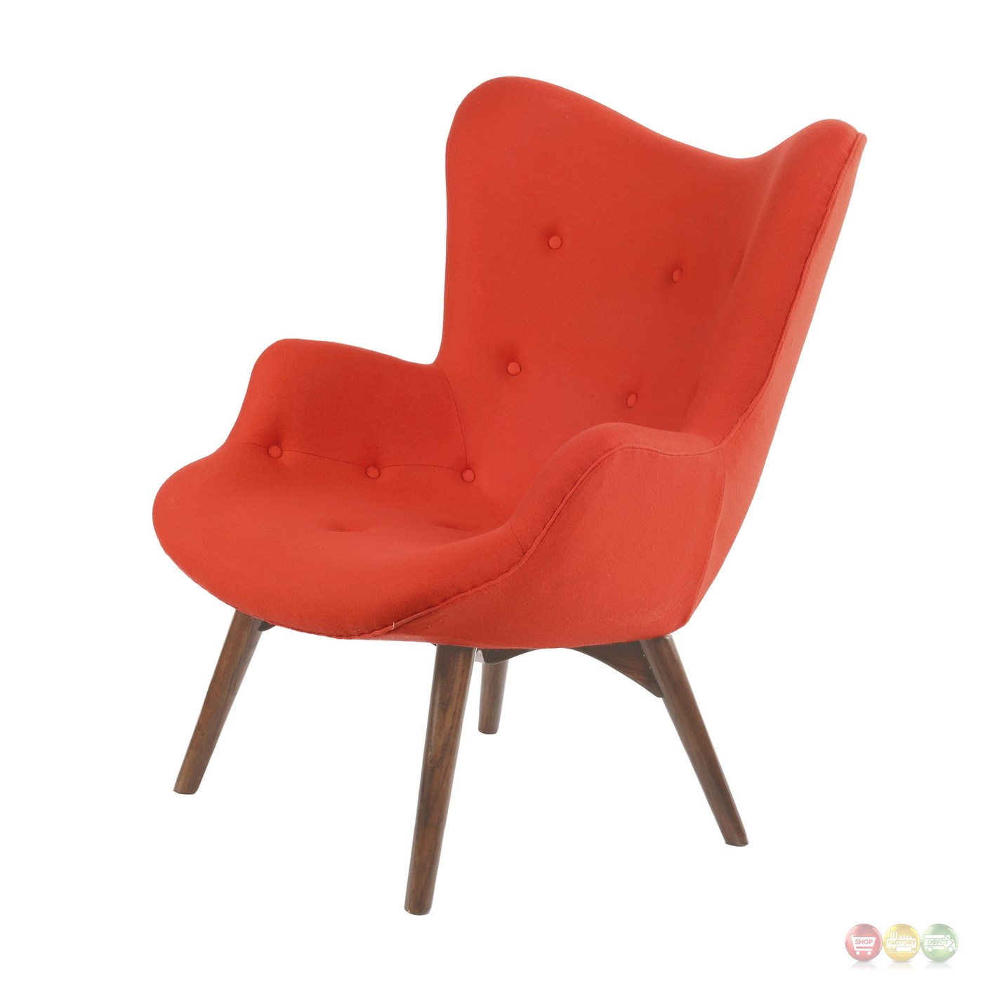 Modern Red Chair Aiden Mid Century Modern Red Fabric Chair And Ottoman In