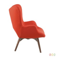 Modern Red Chair Boston Interiors Chairs Aiden Mid Century Fabric And Ottoman In