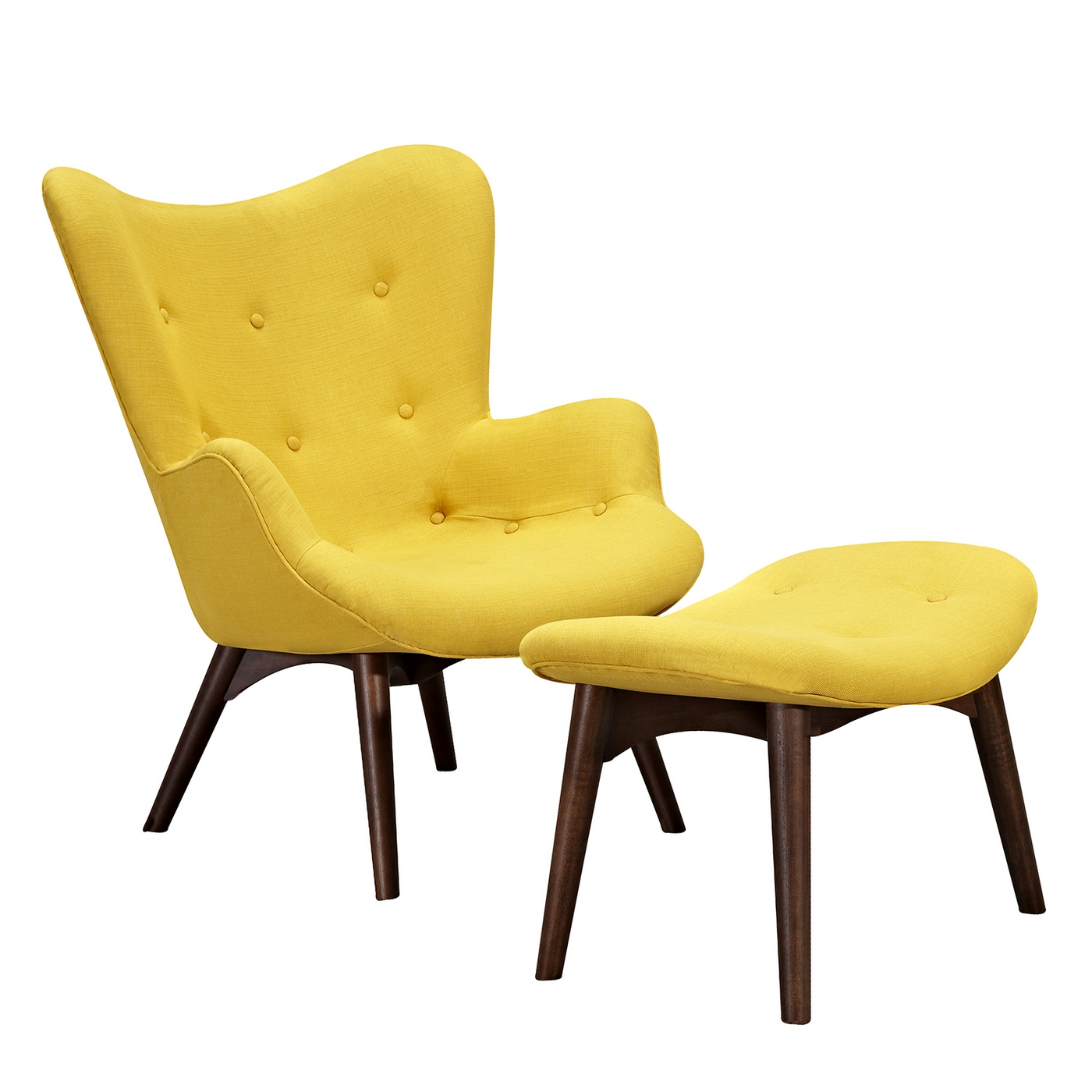 Mid Century Chair And Ottoman Aiden Mid Century Modern Yellow Fabric Chair And Ottoman In