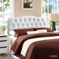 Annabel Faux Leather Button-tufted Arched Full Headboard ...