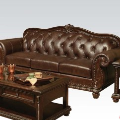 Real Leather Sofa Sets Jordan Cocoa Convertible Storage Anondale Brown Button Tuft Upholstery Set