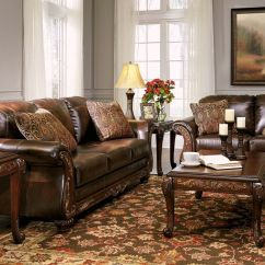 Traditional Sofa Sets Living Room Sectional Sleeper With Storage Vanceton Brown Leather Wood And Loveseat