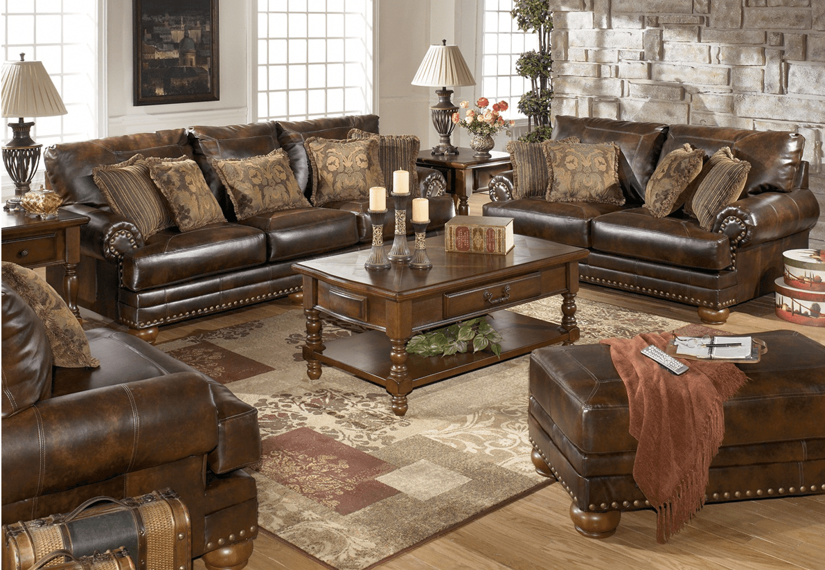 traditional sofa sets living room moroccan bed bonded leather antique brown and loveseat set