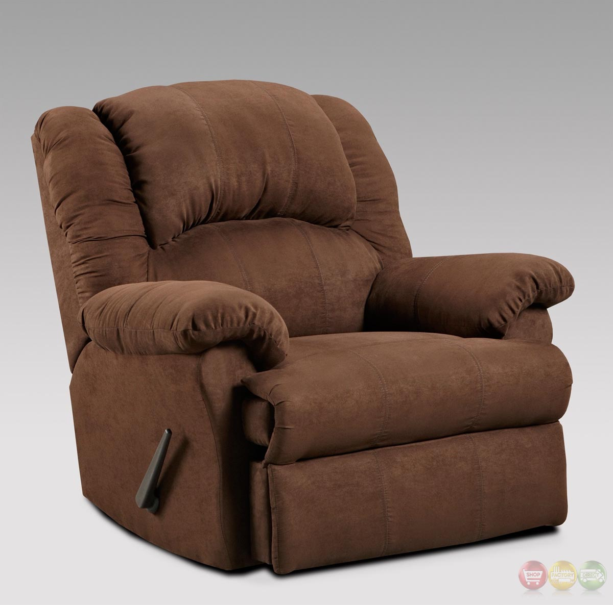 Recliner Rocking Chair Aruba Chocolate Brown Fabric Rocker Recliner Casual