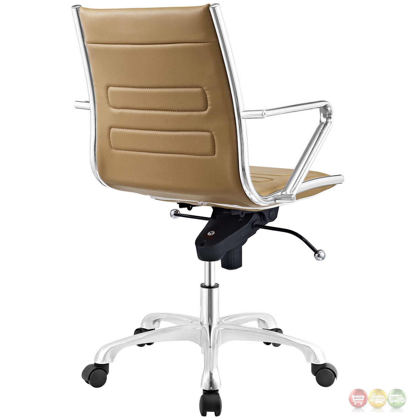 Tan Office Chair Ascend Modern Padded Vinyl Mid Back Office Chair W Tilt
