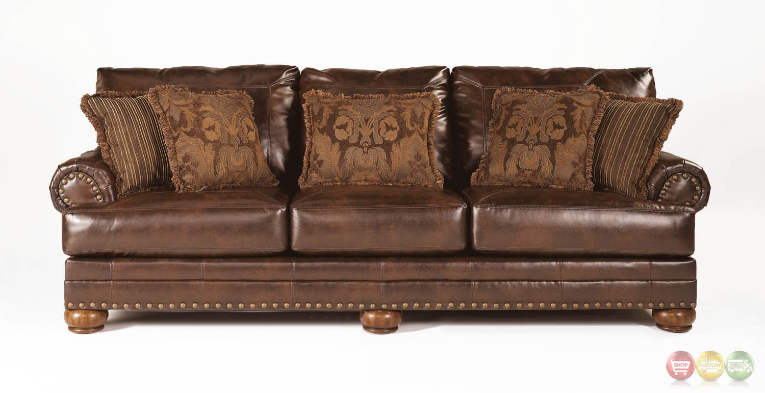 leather nailhead sofa set how to clean seat covers ashley antique brown bonded rolled arms