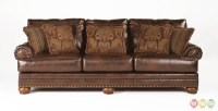 Ashley Antique Brown Bonded Leather Sofa Rolled Arms ...