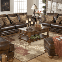 Ashley Bonded Leather Sectional Sofa Cute Covers Antique Brown Rolled Arms