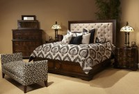 Michael Amini Bella Cera Bedroom Set with Fabric Tufted ...
