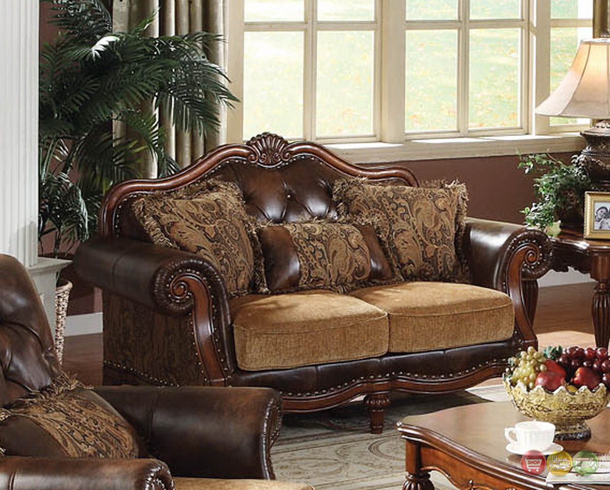 Dreena Traditional Formal Living Room Set Carved Cherry