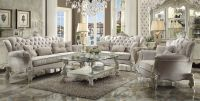 Versailles Traditional Ivory Velvet Formal Living Room Set