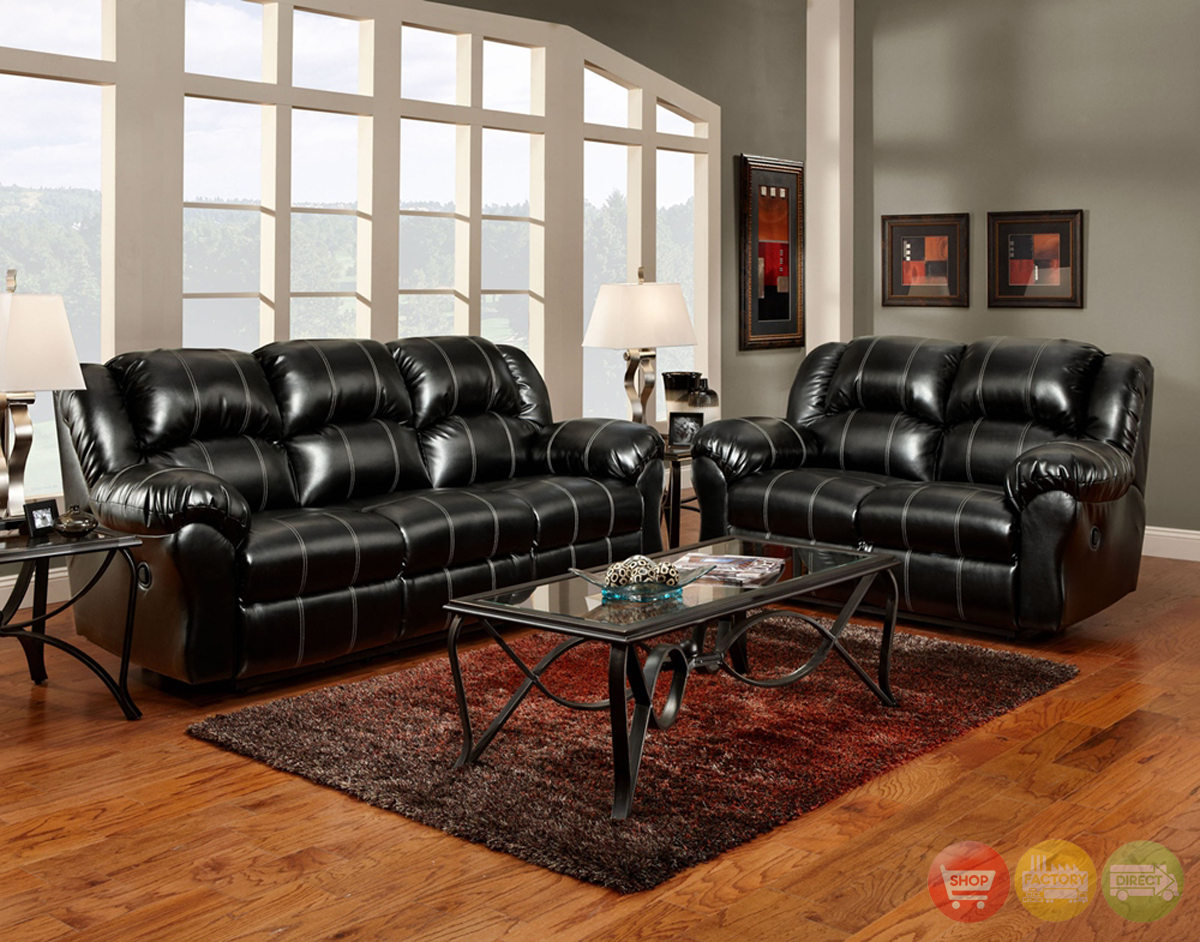 Leather Living Room Chair Black Bonded Leather Casual Motion Sofa Set Living Room