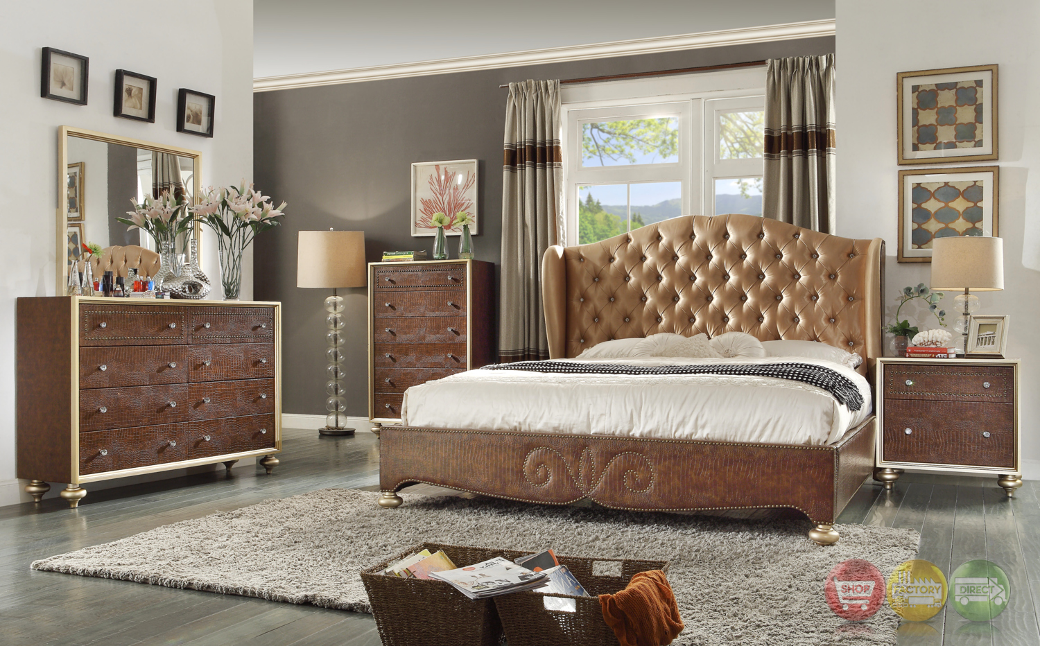 Glamorous Brown Button Tufted Wing Back Bed Faux Croc