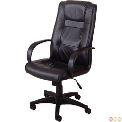 Genuine Leather Chair Parsons Chairs Ikea Black Executive Office Desk
