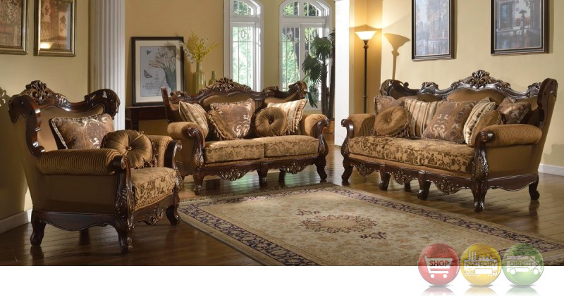 Luxury Winged Back Golden Brown Formal Sofa Set With