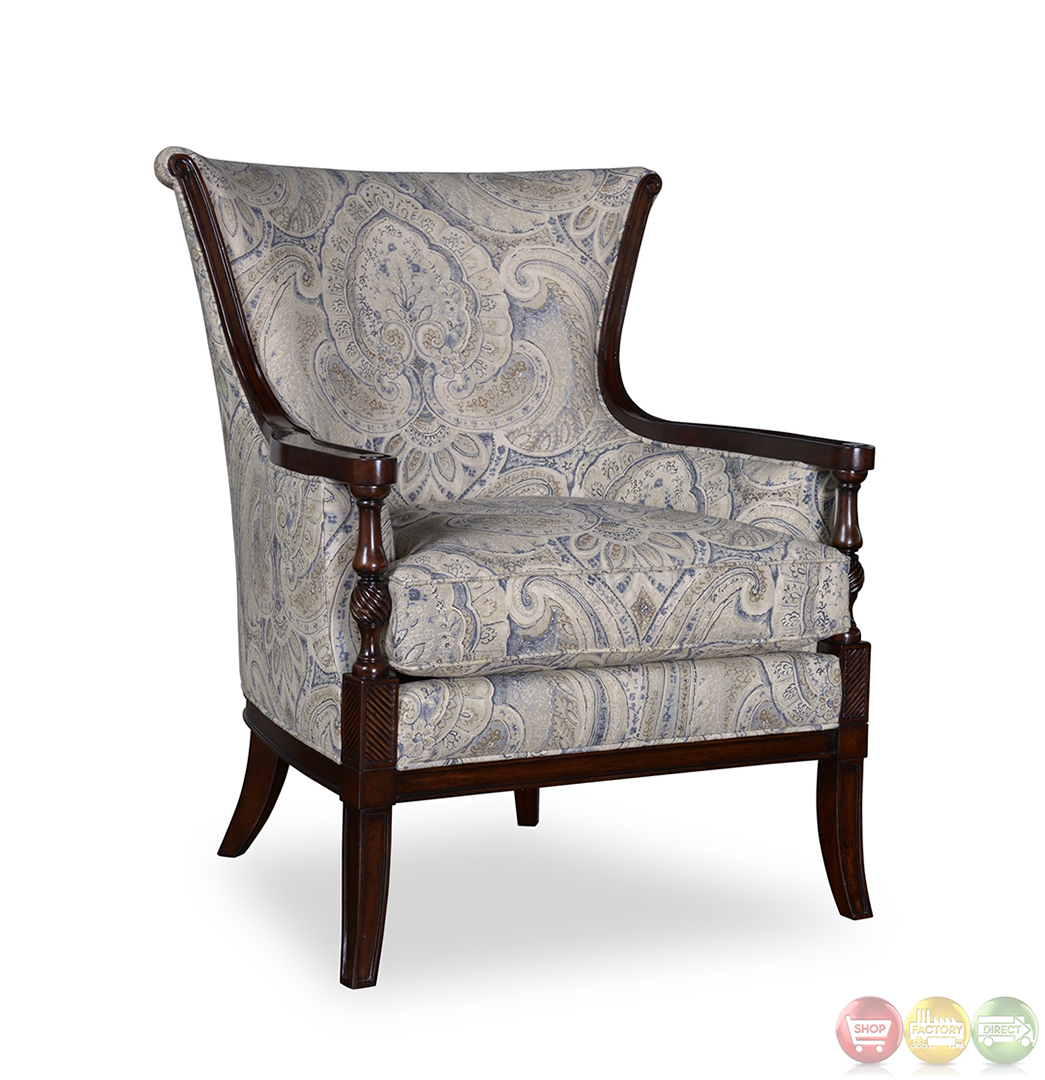 Bristol Linen Transitional Carved Wood Accent Chair