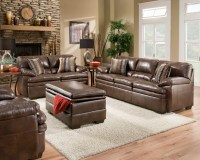Brown Bonded Leather Sofa Set Casual Living Room Furniture