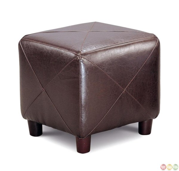 Brown Faux Leather Upholstery Contemporary Cube Ottoman
