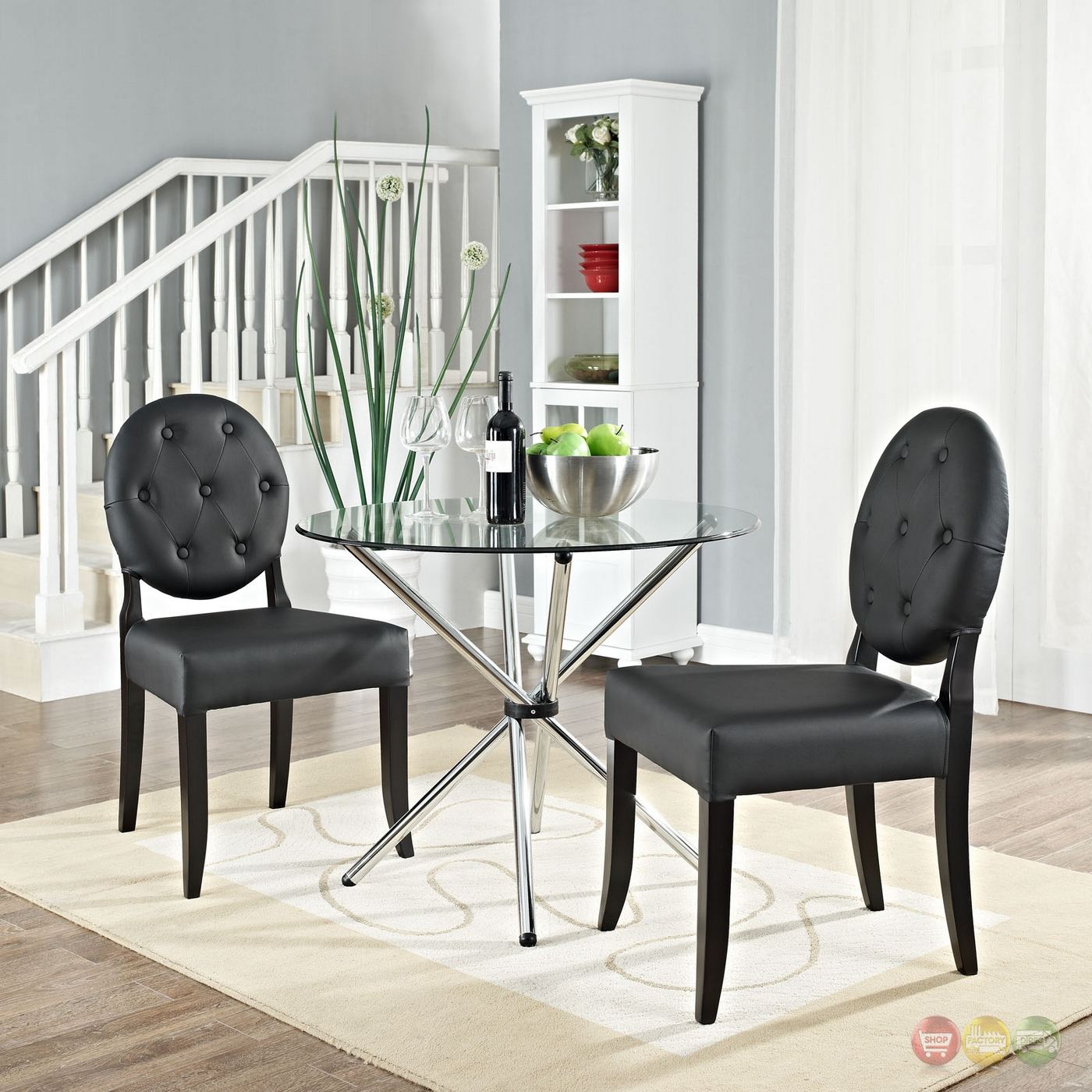 black tufted dining chair bedroom groupon button contemporary vinyl side