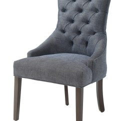 Grey And White Accent Chair Outdoor Wooden Plans Caprice Button Tufted Blue Linen